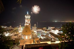 Fireworks can be seen from El Malecon