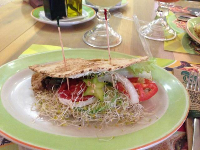 A sandwich served at 100% Natural in Cancun, Mexico