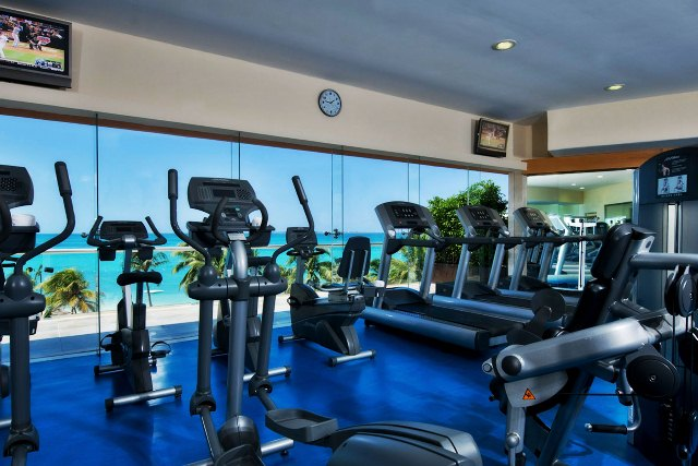 Hotel gym at Grand Coral Beach in Cancun, Mexico