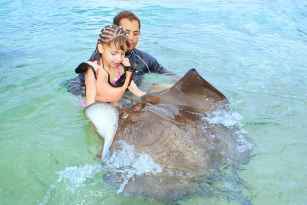 Swimming with stingrays in Cozumel