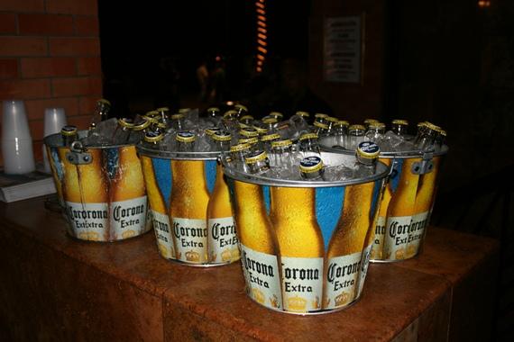 Buckets of corona beer