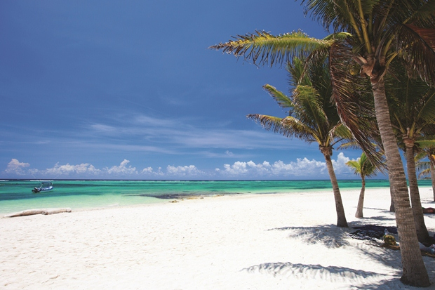 The white sand extending out into the Caribbean Sea at the beach in Tulum, Mexico