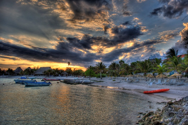 The Bay of Akumal as the sun goes down