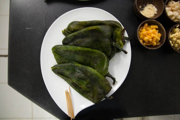 Deveined and deseeded poblano chili peppers