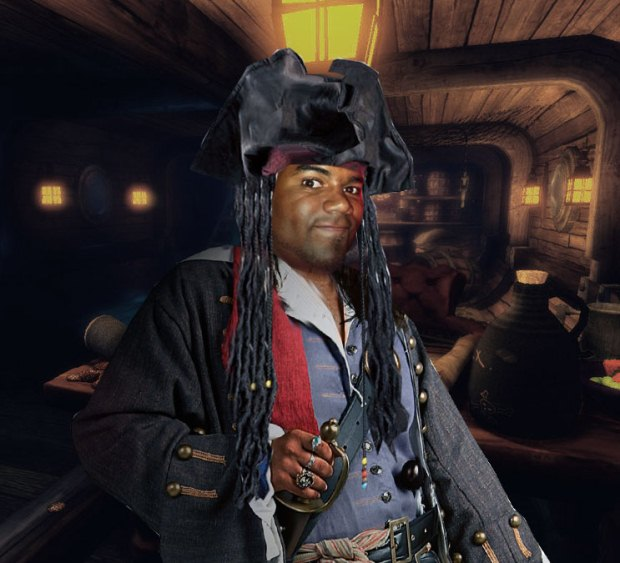A pirate of the Caribbean poses for the camera