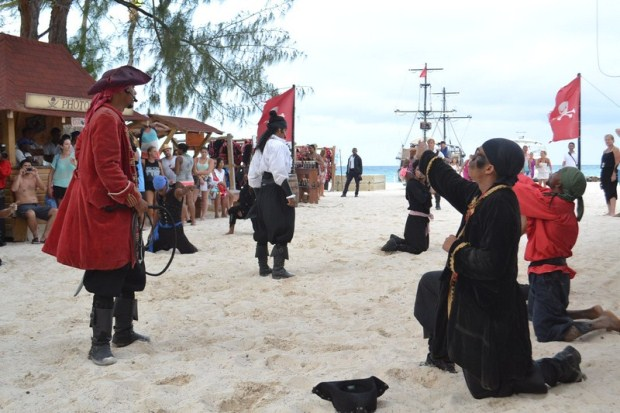 A group of pirates begging for their lives in the Dominican Republic