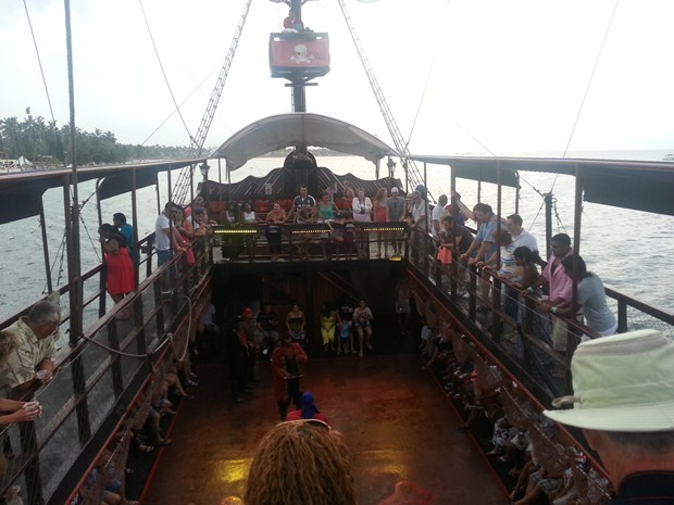 On board the top deck of the Caribbean Buccaneers pirate ship