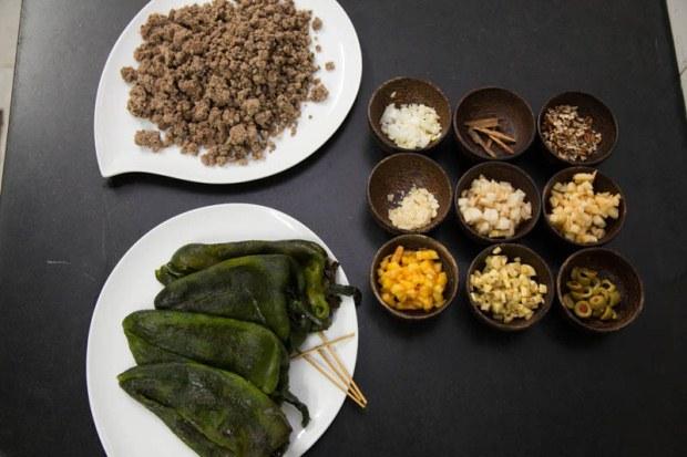 Ingredients for chile en nogada