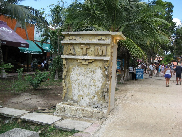 The Mayan-style ATM machine outside the ruins in Tulum, Mexico.