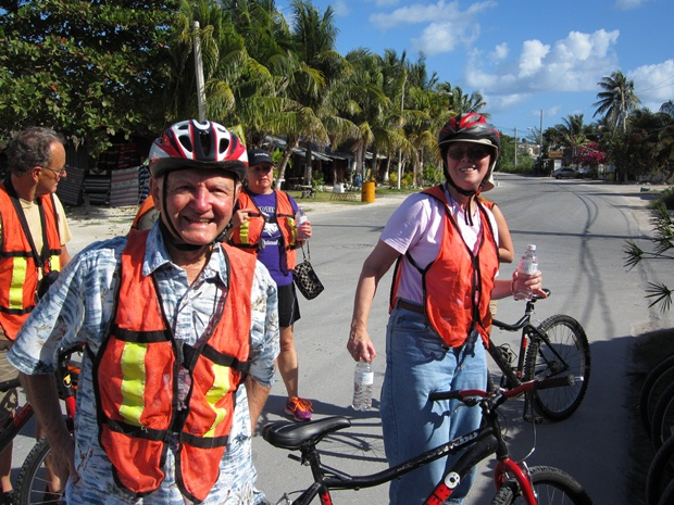 Tourists posing for a picture on the bicycle tour in Puerto Morelos