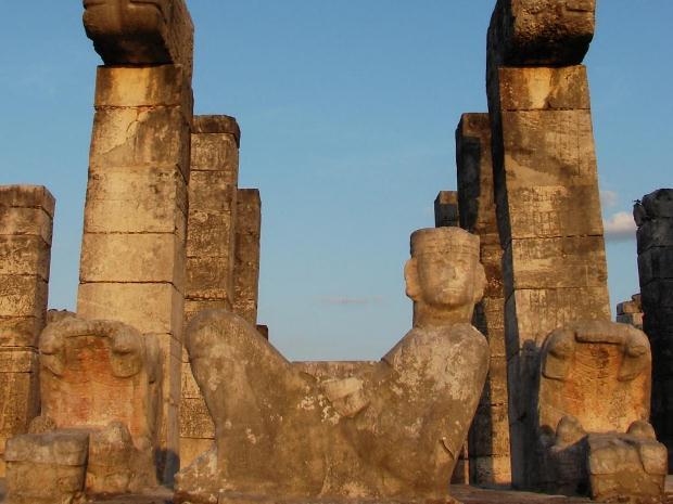 A close-up of a chaac mool sculpture at Chichen Itza
