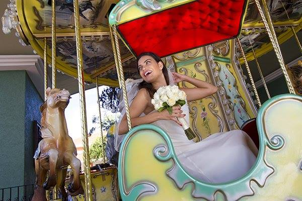A bride-to-be riding a carroussel in the Riviera Maya, Mexico