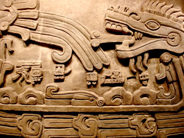 An engraving of a serpent found at Chichen Itza