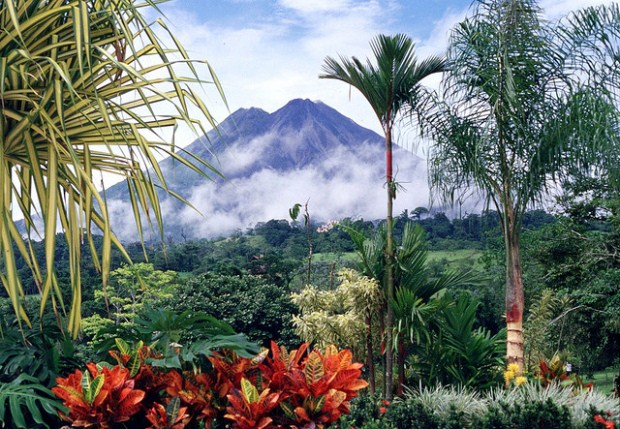 A long-shot view of Arenal volcano in Costa Rica