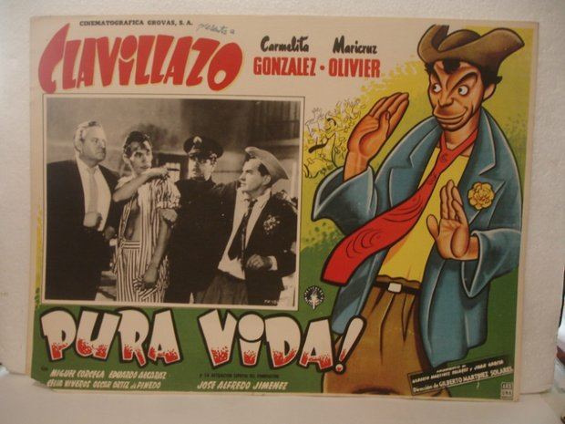 A poster for the 1956 film Pura Vida starring Mexican comedian Clavillazo.