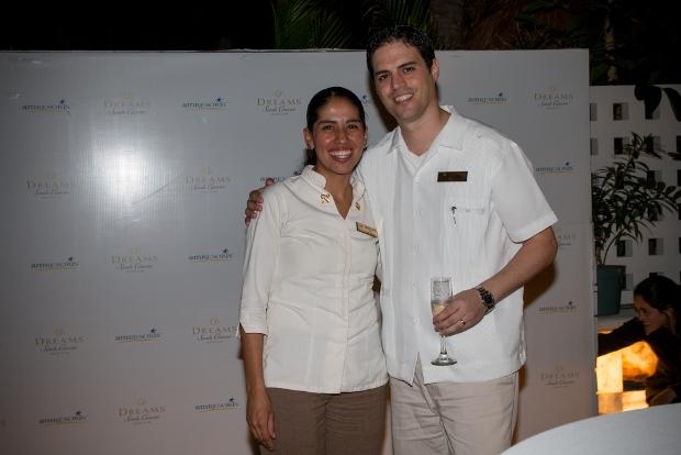 Golden Keys Concierge Nancy Lopez together with Dreams Sands Cancun General Manager Daniel Navarro