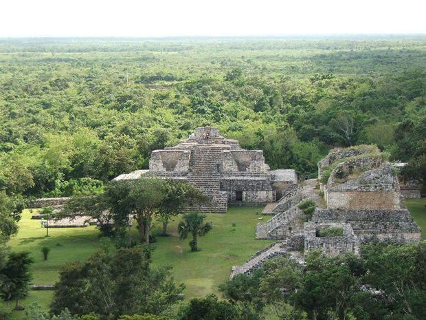 An aerial view of two buildings at the Mayan ruins of Ek Balam