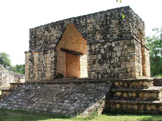 The entrance to the Mayan ruins of Ek Balam in the Yucatan Peninsula, Mexico