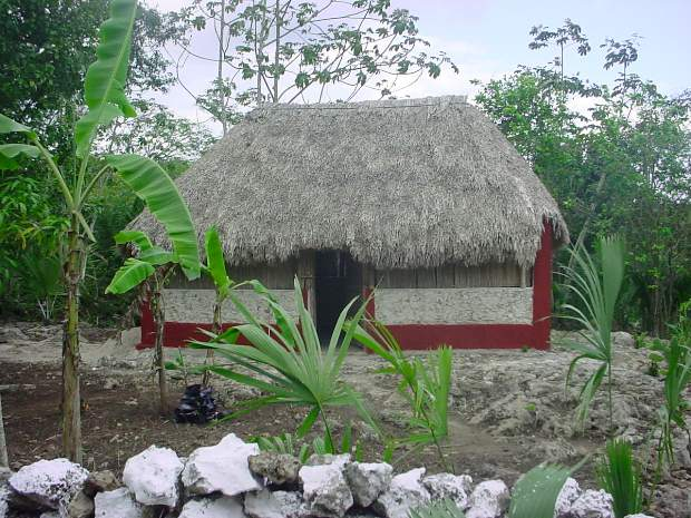A typical Maya hut can be seen and visited as part of the Ek Balam tour