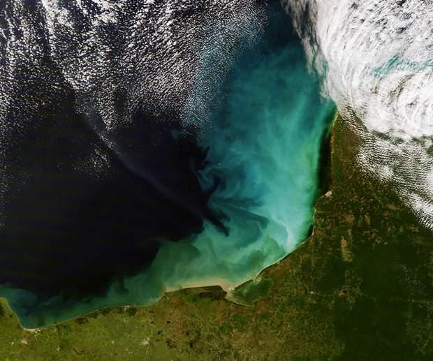 A satellite view of the Yucatan Peninsula courtesy of NASA