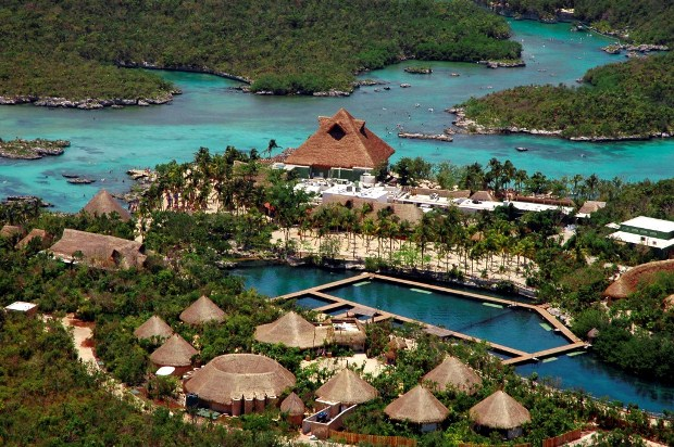 An aerial view of Xel-Ha, the world-famous aquatic park located just outside of Tulum, Rivera Maya