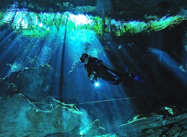 Diving an underground cenote in the Riviera Maya