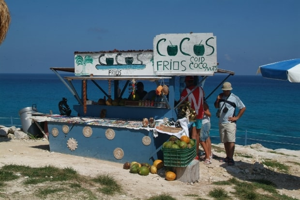 Stand selling fresh coconut water
