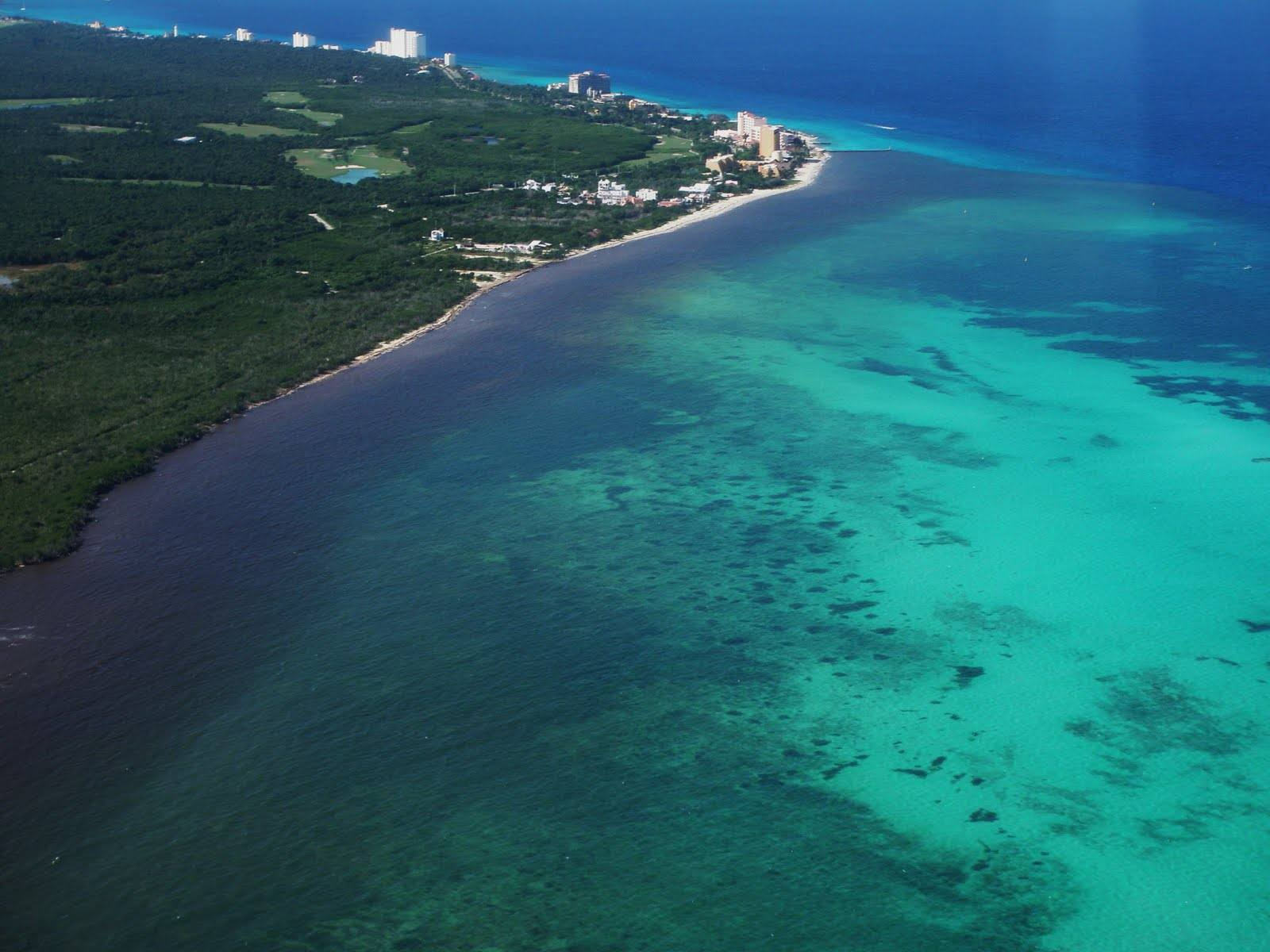 An aerial view of the Cozumel Island coastline in the Mexican Caribbean