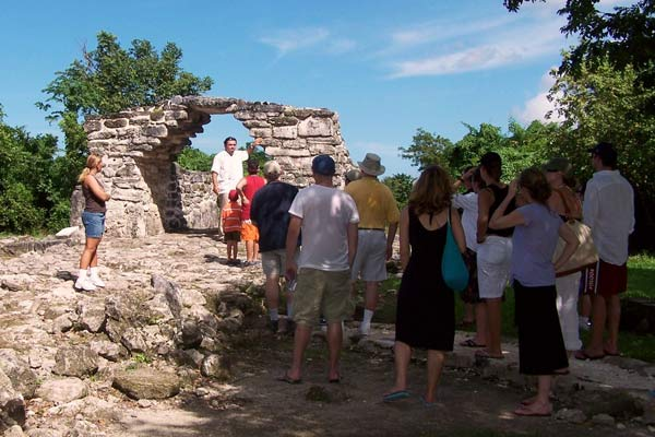 Guests of a Cozumel tour visit the San Geranimo ruins on Cozumel island