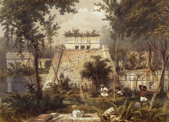 "A painting of Tulum, from a fragment of the 1844 artwork ""Views of Ancient Monuments"" by Frederick Catherwood."